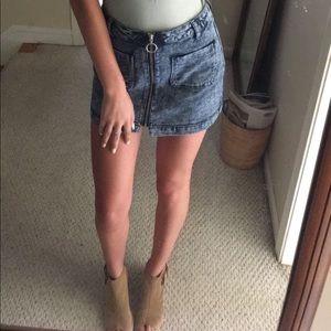 Washed denim zip up jean skirt